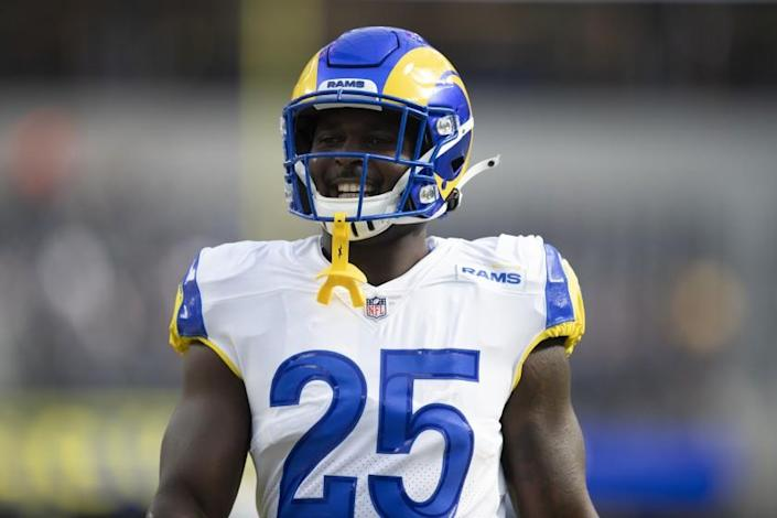 Los Angeles Rams running back Sony Michel (25) smiles as he warms up before an NFL football game against the Chicago Bears Sunday, Sept. 12, 2021, in Inglewood, Calif. (AP Photo/Kyusung Gong)