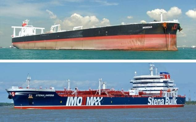 The British-owned Mesdar (above) and the British-flagged Stena Impero have been seized by Iran in the Strait of Hormuz