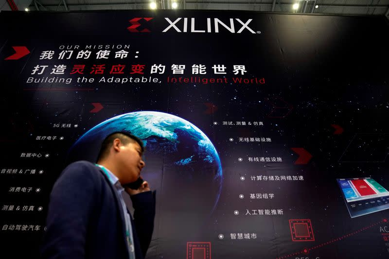 A Xilinx sign is seen during the China International Import Expo (CIIE), at the National Exhibition and Convention Center in Shanghai