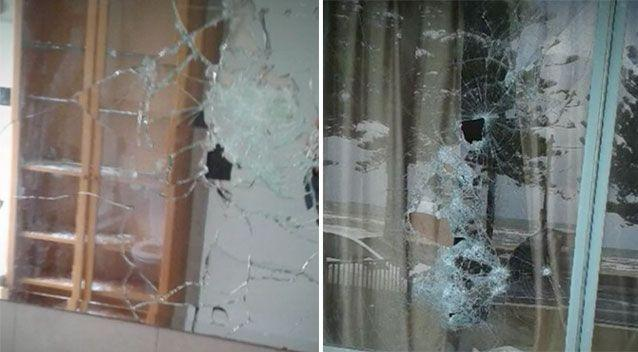 A mirror destroyed in the home along with a window. Source: 7 News