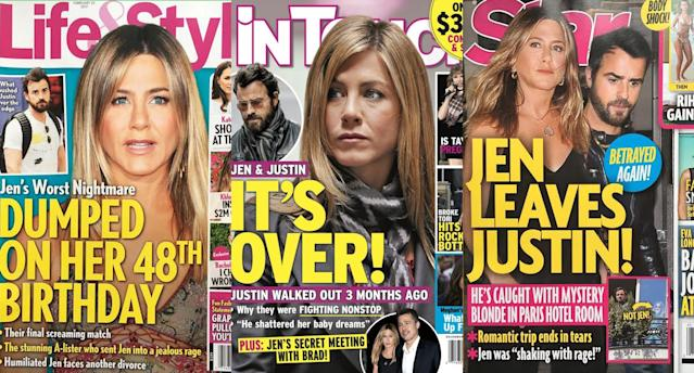 "Some of the ""lonely Jen"" covers. (Photos: <em>Life & Style, In Touch, Star</em>)"