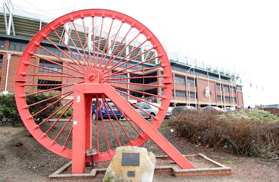 A pit wheel in front of the Stadium of Light. The city's pride now rests on its football team (AFP Photo/GRAHAM STUART)