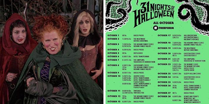 Freeform 31 Nights Of Halloween 2020 Freeform Just Released Its '31 Nights Of Halloween' Schedule With