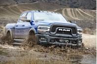 "<p>Power Wagon is a name that dates back to the days just after World War II, when Dodge was repurposing its military trucks for civilian duty. Today's Power Wagon is based on the <a href=""https://www.caranddriver.com/ram/2500-3500"" rel=""nofollow noopener"" target=""_blank"" data-ylk=""slk:Ram 2500 HD"" class=""link rapid-noclick-resp"">Ram 2500 HD</a>, a truck built to get jobs done, not just for looks at the off-road park. The Power Wagon has a lifted suspension for increased ground clearance and greater approach and departure angles. It also adds off-road essentials like locking front and rear differentials and a disconnecting front anti-roll bar. The front-mounted winch can handle up to 12,000 pounds should all Hell break loose. The Power Wagon comes equipped with a 410-hp 6.4-liter gas-fed V-8.</p>"