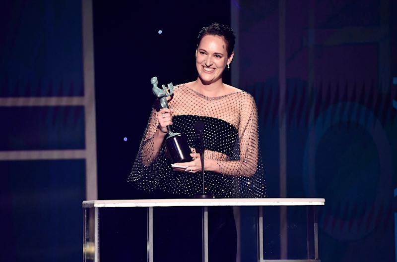 """Phoebe Waller-Bridge accepts the award for outstanding performance by a female actor in a comedy series for her role as Fleabag in """"Fleabag"""" during the 26th Annual Screen Actors Guild Awards."""