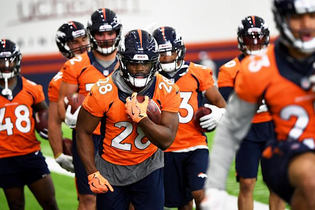 "<a class=""link rapid-noclick-resp"" href=""/nfl/players/31041/"" data-ylk=""slk:Royce Freeman"">Royce Freeman</a> has a chance to enjoy a rebound effort following a slow rookie season. (Photo by Joe Amon/MediaNews Group/The Denver Post via Getty Images)"