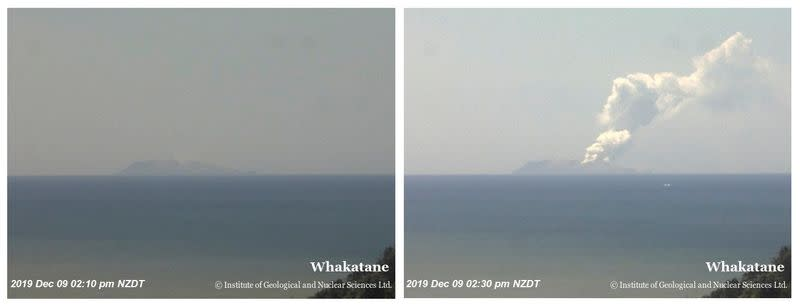 Combination photo shows Whakaari, also known as White Island, volcano shortly before and after eruption in New Zealand