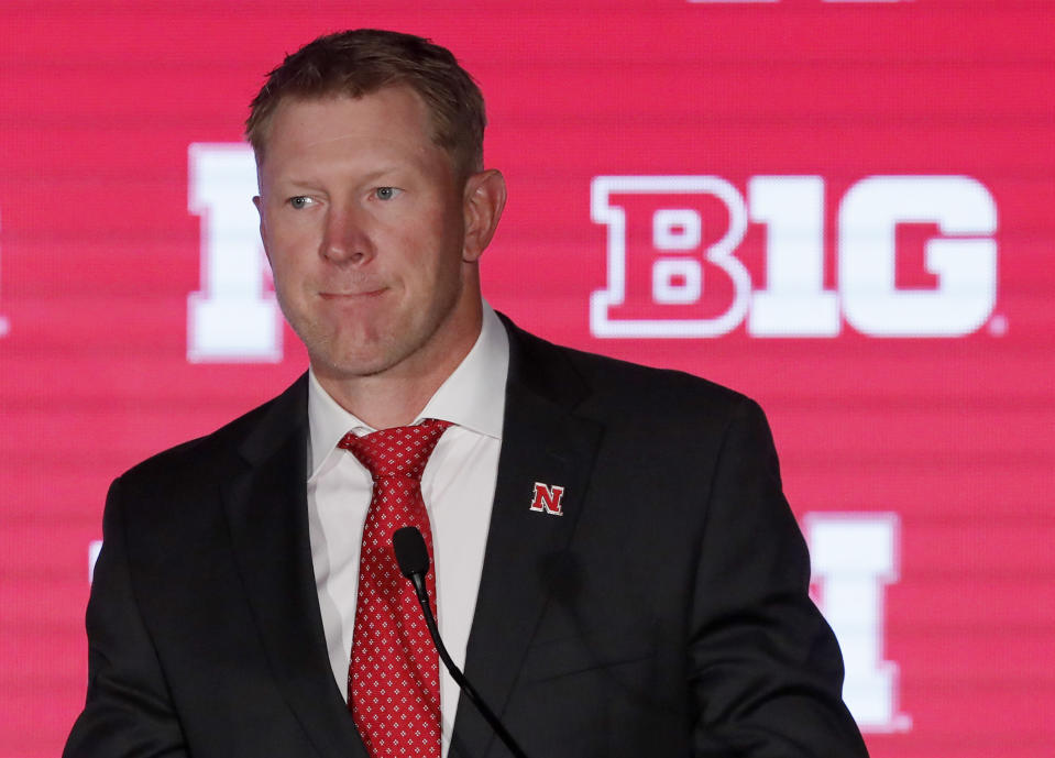 Nebraska head coach Scott Frost listens to a question during the Big Ten Conference college football media days on July 18, 2019. (AP)