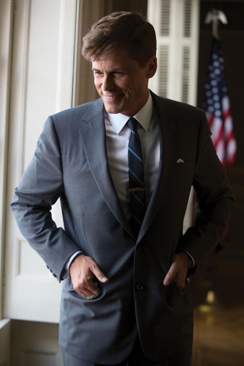 """This image released by National Geographic Channels shows Rob Lowe as President John F. Kennedy in """"Killing Kennedy."""" The film, based on Fox News host Bill O'Reilly and Martin Dugard's book by the same name, chronicles the events that culminated with the assassination of the nation's 35th president on Nov. 22, 1963. The film with Rob Lowe portraying the former president was watched by 3.4 million people Sunday night. ??(AP Photo/National Geographic Channels, Kent Eanes)"""