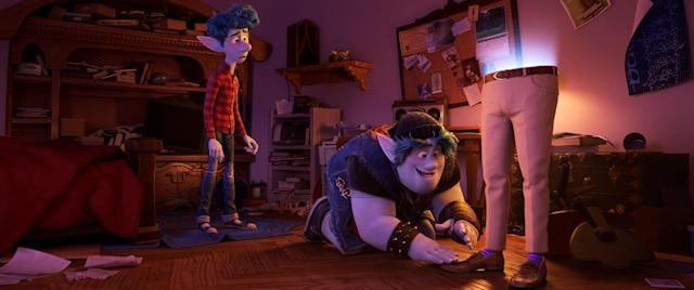 Brothers Ian and Barley use a spell gifted to them on Ian's 16th birthday to magically conjure their dad - half of him, anyway - right down to his signature purple socks. (©2019 Disney/Pixar. All Rights Reserved.)