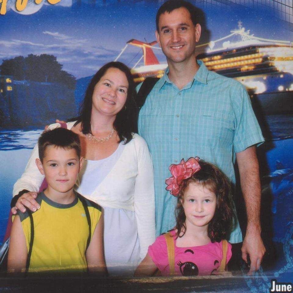 From left, Guy, JoAnn, Joel, and Charlotte Bacon. Charlotte was killed during the Sandy Hook school shooting on Dec. 14, 2012. (Photo: Courtesy of the Bacon family)