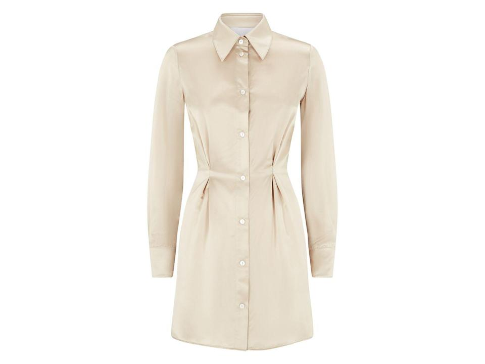 """<p>A shirt-dress is a wardrobe staple; add a blazer on top for a smarter look, or pair with grungy boots or trainers for daytime casual wear. </p><p><a class=""""link rapid-noclick-resp"""" href=""""https://www.silkedlondon.com/shop/p/shirt-dress-oyster"""" rel=""""nofollow noopener"""" target=""""_blank"""" data-ylk=""""slk:SHOP NOW"""">SHOP NOW</a></p><p>£350, Silked.</p>"""