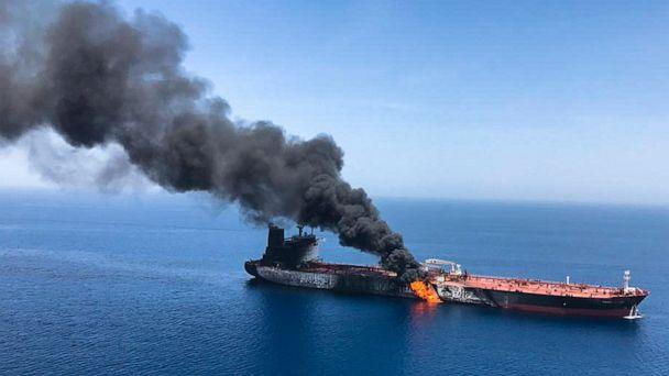 PHOTO: An oil tanker is on fire in the sea of Oman, June 13, 2019. (ISNA/AP)