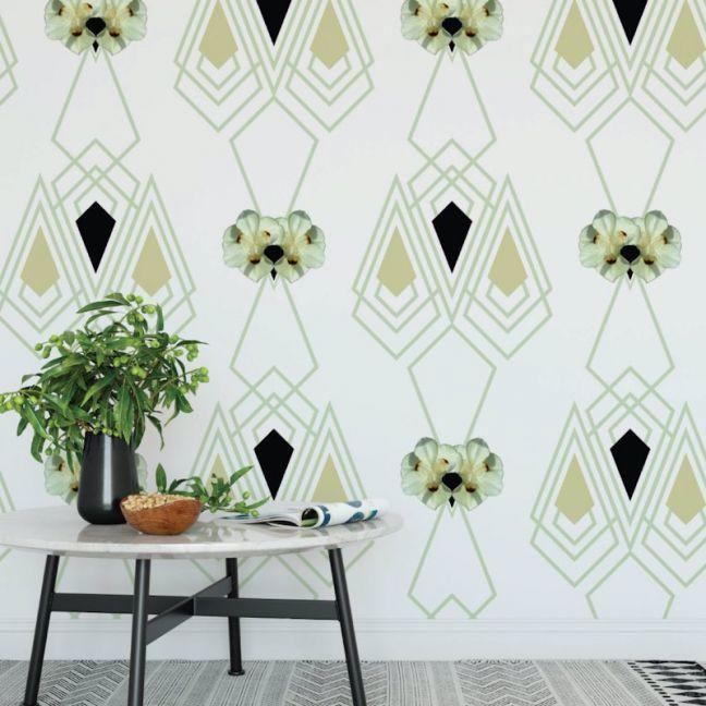 the block shop Nature's Glamour Eco Wallpaper Marilyn Ice Green by Amba Florette