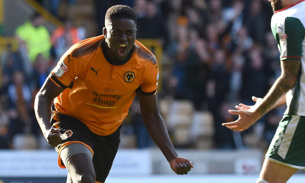 Alfred N'Diaye celebrates his match winner as Wolves beat Barnsley at Molineux