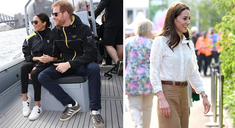 Meghan Markle wears Veja white trainers, while Kate Middleton wears Superga trainers.