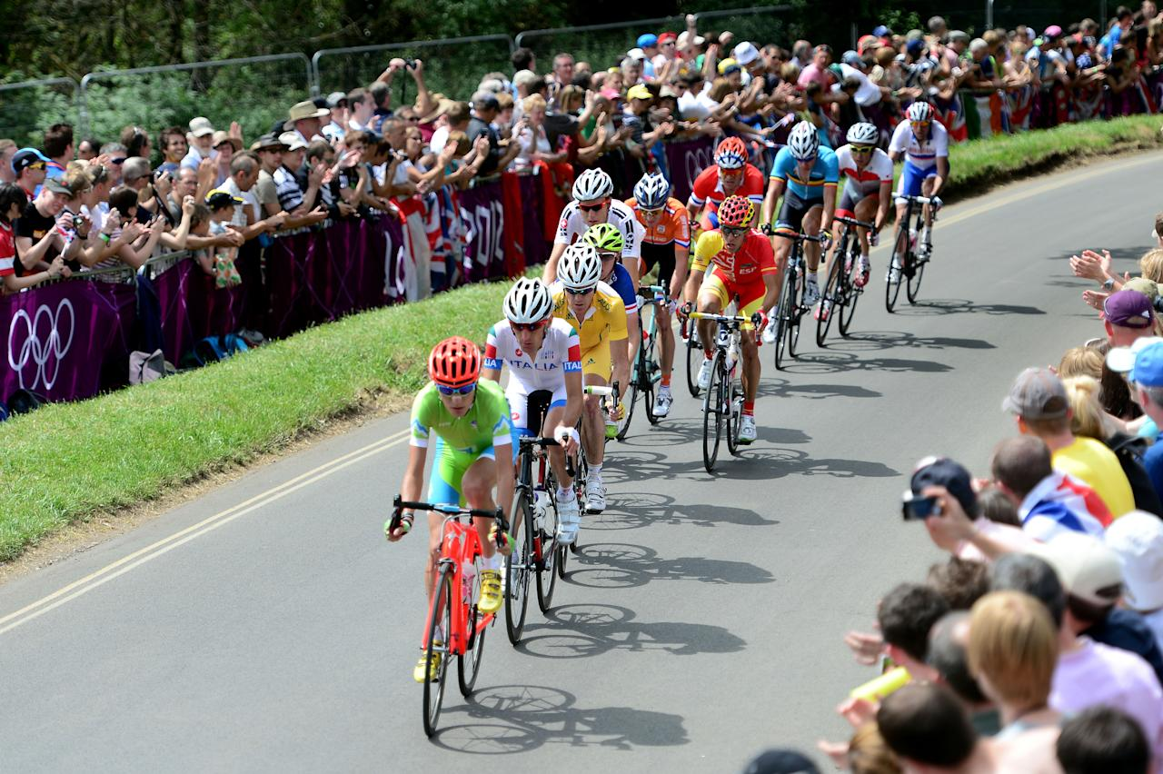 LONDON, ENGLAND - JULY 28:  Janez Brajkovic of Slovenia leads the breakaway group during the Men's Road Race Road Cycling on day 1 of the London 2012 Olympic Games on July 28, 2012 in London, England.  (Photo by Jamie Squire/Getty Images)