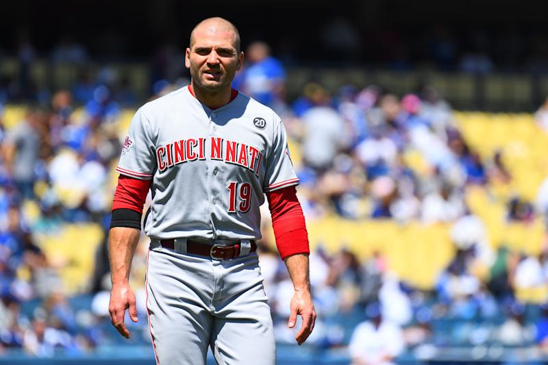 Reds star Joey Votto popped out to first base for first time in MLB career. It took 6,829 career plate appearances. (Photo by Brian Rothmuller/Icon Sportswire via Getty Images)
