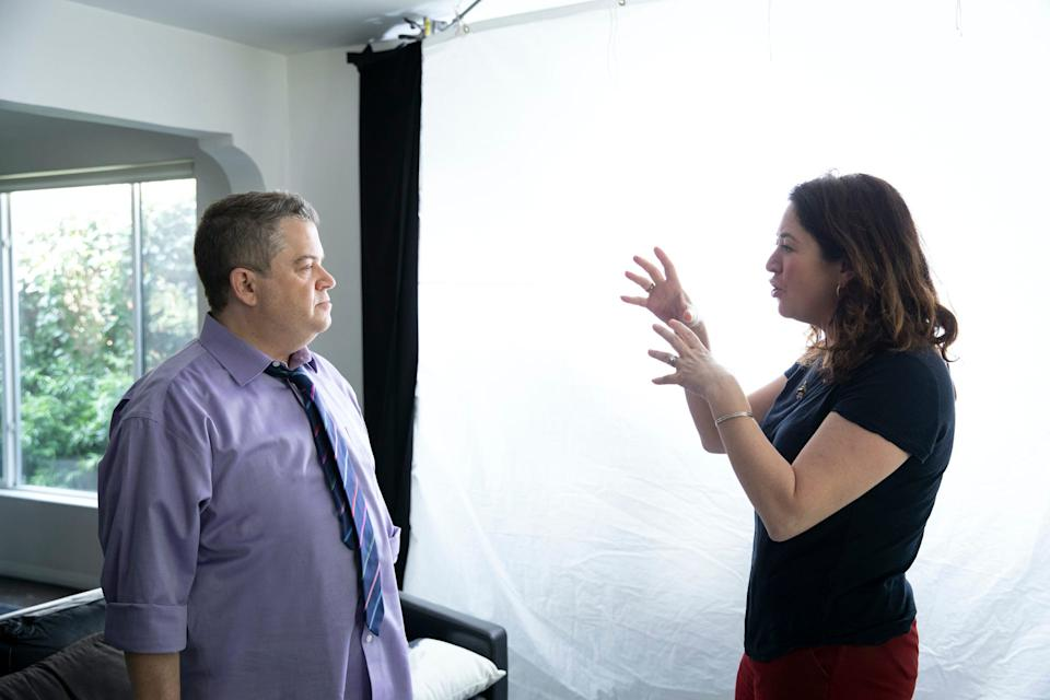 """Comedian Patton Oswalt with """"I'll Be Gone in the Dark"""" director Liz Garbus."""