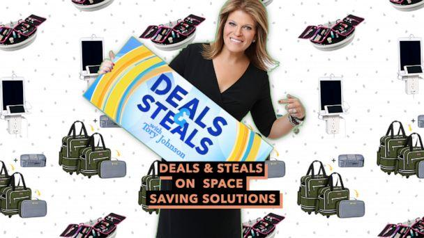 PHOTO: Deals & Steals on space saving solutions (ABC News Photo, Everything Orgo, Biaggi, Socket Shelf)