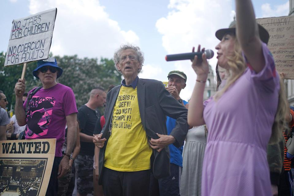 Piers Corbyn joined the anti-lockdown rally hours after lockdown ended (PA)