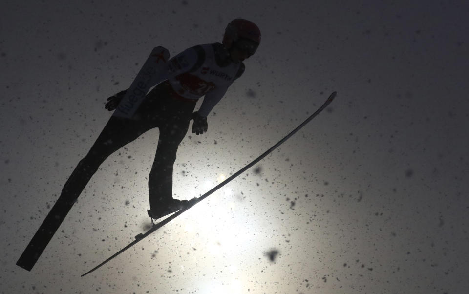 Austria's Jan Hoerl competes during the WSC Men's Large Hill Individual HS137 jumping event at the FIS Nordic World Ski Championships in Oberstdorf, Germany, Friday, March 5, 2021. (AP Photo/Matthias Schrader)
