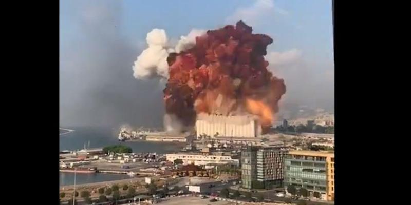 Screenshot of a video purportedly showing explosion in Beirut