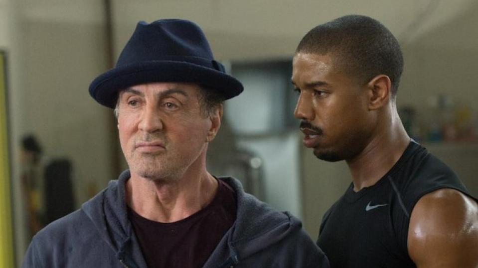 Sylvester Stallone as Rocky and Michael B. Jordan as Adonis in 'Creed'. (Credit: Warner Bros)