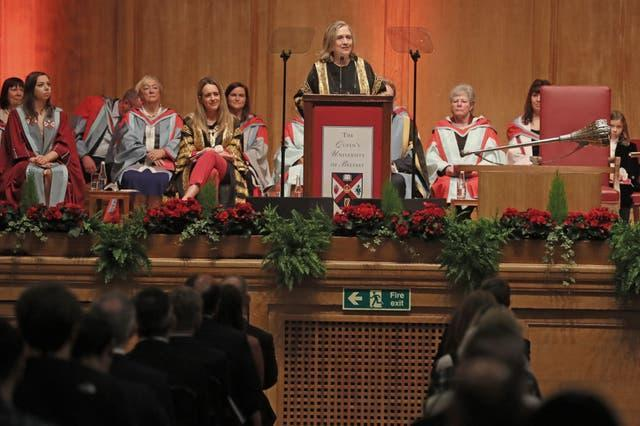The former US secretary of state Hillary Clinton is installed as the chancellor (Brian Lawless/PA)