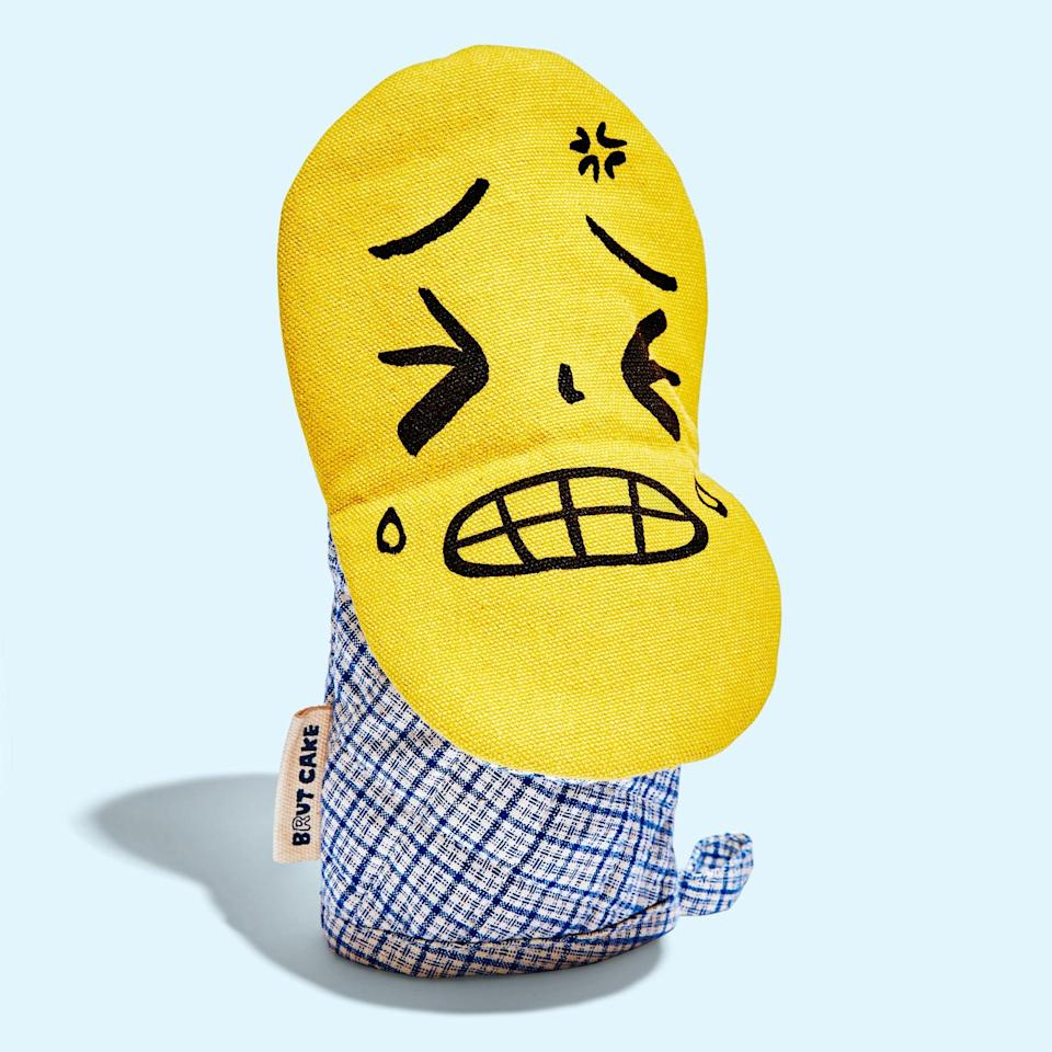 """<p>""""This mitt, made by Brut Cake from natural dyed upcycled vintage cotton, is really popular in our shop—it has a funny face inside so everyone puts it on their hand like a puppet and makes it talk! They sell out fast but we always restock.""""</p> <p>Buy it: <a href=""""https://www.sage-collective.com/all-collections/lil-guy-oven-mitt"""" rel=""""nofollow noopener"""" target=""""_blank"""" data-ylk=""""slk:Lil' Guy Oven Mitt, $33"""" class=""""link rapid-noclick-resp"""">Lil' Guy Oven Mitt, $33</a></p>"""