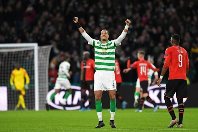 Christopher Jullien scored the only goal as Celtic beat Rangers 1-0 in the Scottish League Cup final (AFP Photo/ANDY BUCHANAN)