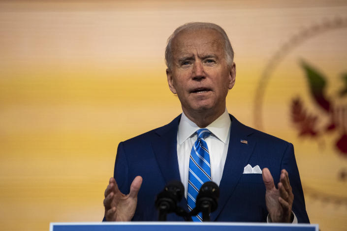 WILMINGTON, DE - NOVEMBER 25: President-elect Joe Biden delivers a Thanksgiving address at the Queen Theatre on November 25, 2020 in Wilmington, Delaware.As Biden waits to be approved for official national security briefings, the names of top members of his national security team were announced yesterday to the public. Calls continue for President Trump to concede the election and let the transition proceed without further delay. (Photo by Mark Makela/Getty Images)
