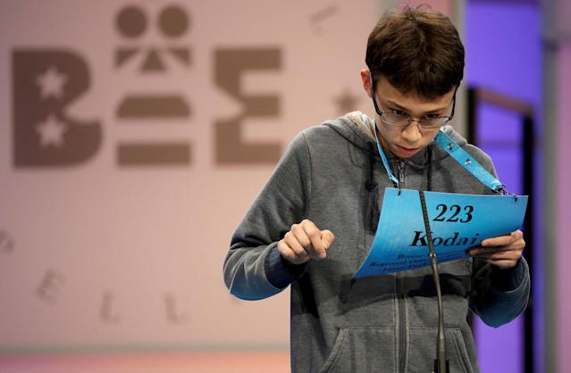 <p>Kodai Speich, 13, of Rockford, Ill., competes during the 2017 Scripps National Spelling Bee at National Harbor in Oxon Hill, Maryland, May 31, 2017. (Joshua Roberts/Reuters) </p>