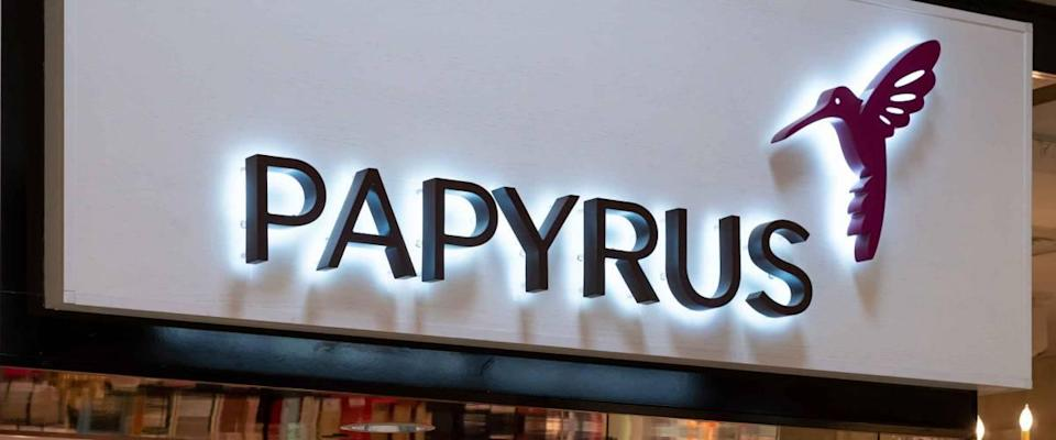 EDINA, MN/USA - JANUARY 1, 2020: Papyrus retail store exterior and trademark logo.