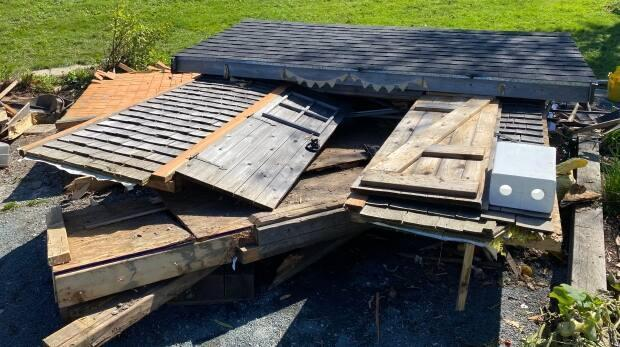 The Common Roots BiHi Park on Bayers Road had its storage shed smashed last Friday by a motorist.  (Jack Julian/CBC - image credit)