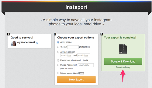 Instaport screenshot