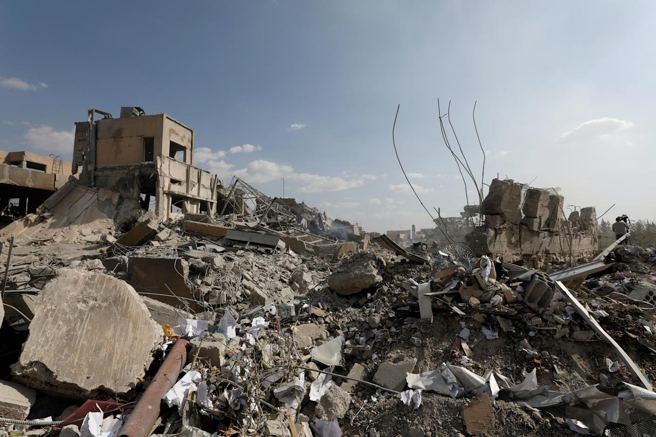 The destroyed Scientific Research Centre is seen in Damascus Syria