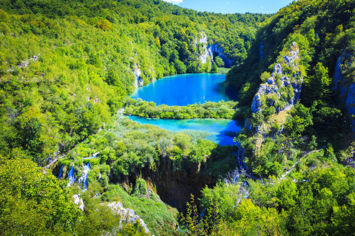 The view from Vidikovac viewpoint in the Plitvice Lakes National Park (Getty Images)