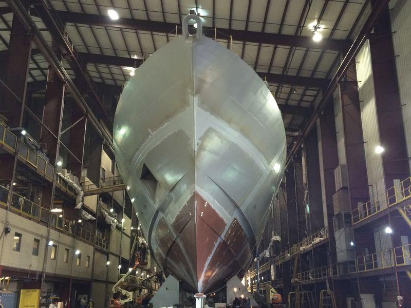 Handout photo of the USS Sioux City ship as it is being built at the Fincantieri/Marinette Marine Corp. shipyard in Marinette, Wisconsin