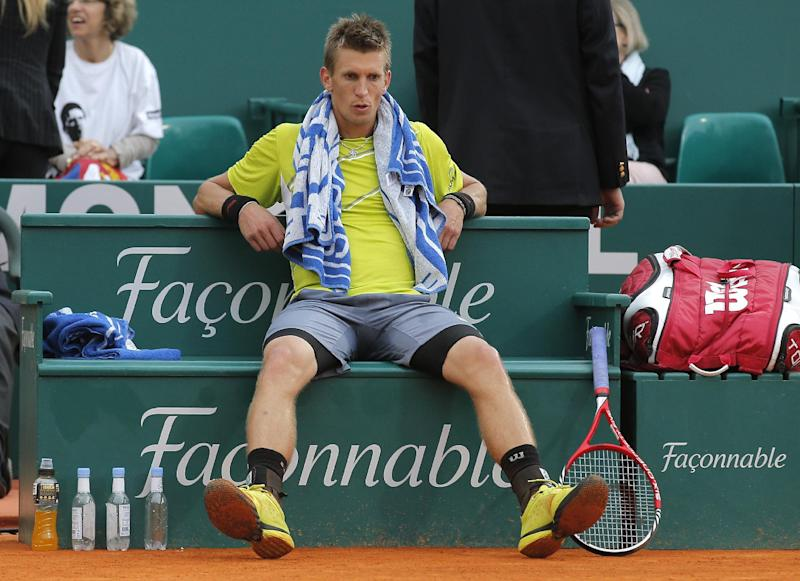 Jarkko Nieminen of Finland reacts during his quarterfinal match against Novak Djokovic of Serbia at the Monte Carlo Tennis Masters tournament in Monaco, Friday, April 19, 2013. (AP Photo/Lionel Cironneau)