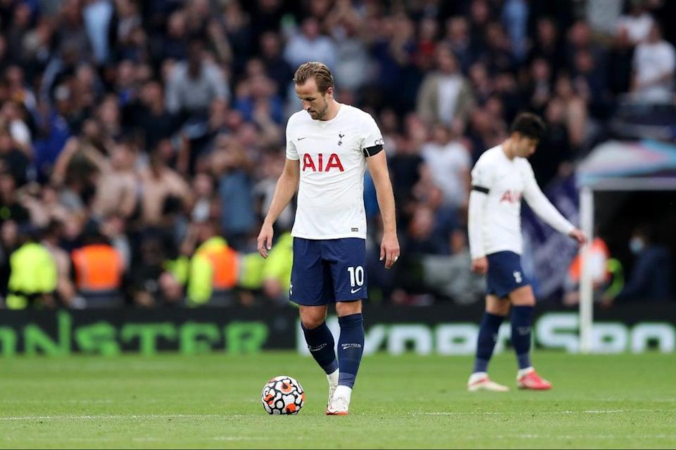 Harry Kane cut a frustrated figure in Tottenham's 3-0 defeat by Chelsea (Tottenham Hotspur FC via Getty Images)