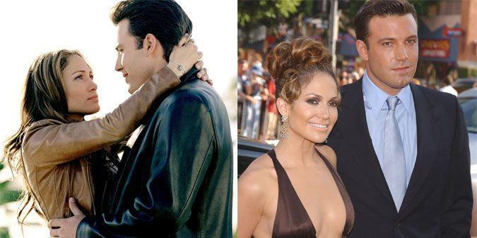 """<p><strong>The movie: </strong><span class=""""redactor-invisible-space""""><em>Gigli </em><span class=""""redactor-invisible-space"""">(2003)</span></span></p><p>The original Bennifer notoriously met and fell in love while filming the box office flop in 2001, and their IRL romance could've been why it tanked in the first place: higher-ups wanted to cash in on their relationship, causing the film to be re-shot and re-edited into a rom-com rather than the crime drama it set out to be. The couple got engaged — and even filmed another movie, <em>Jersey Girl</em><span class=""""redactor-invisible-space"""">, together — but broke up four days before the wedding in 2003.</span></p>"""