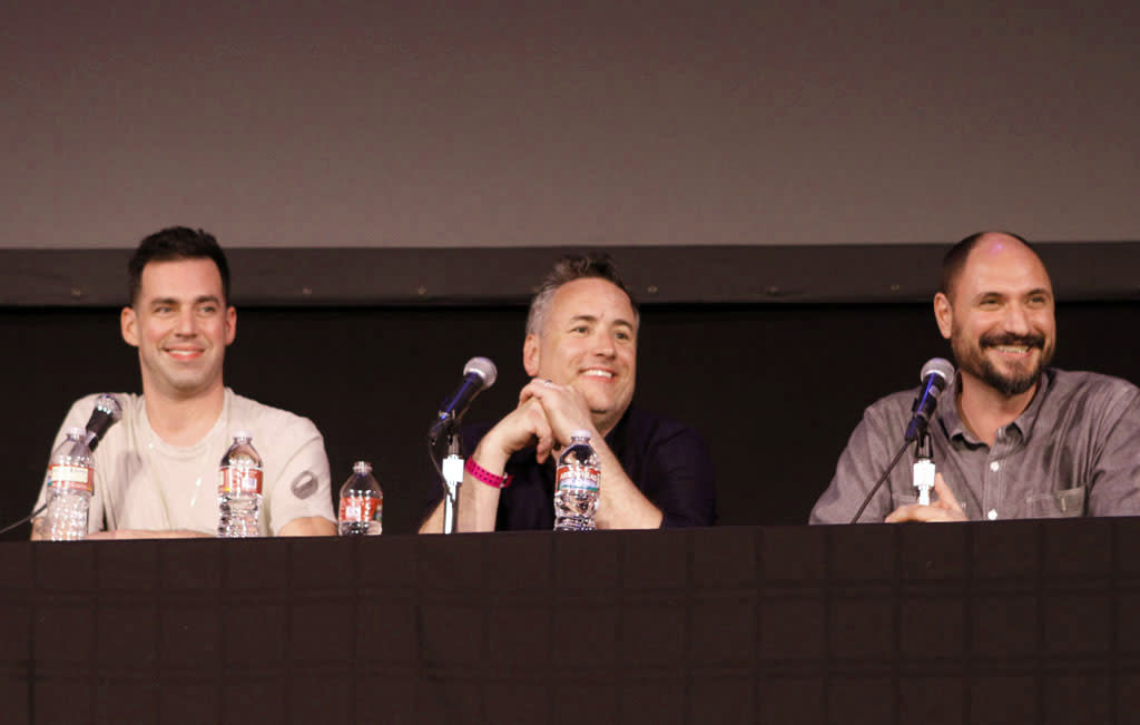 "Cast members John Roberts and Larry Murphy and ""Bob's Burgers"" Creator and Executive Producer Loren Bouchard on stage during ""Bob's Burgers Live!"" at the WIlshire Ebell Theatre on Tuesday, May 7 in Los Angeles, CA."