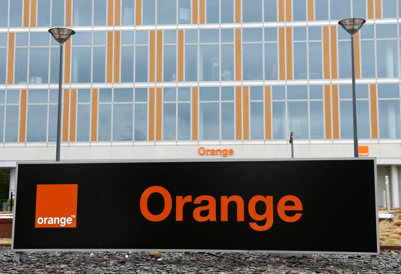 The logo of French telecom operator Orange is pictured in Brussels
