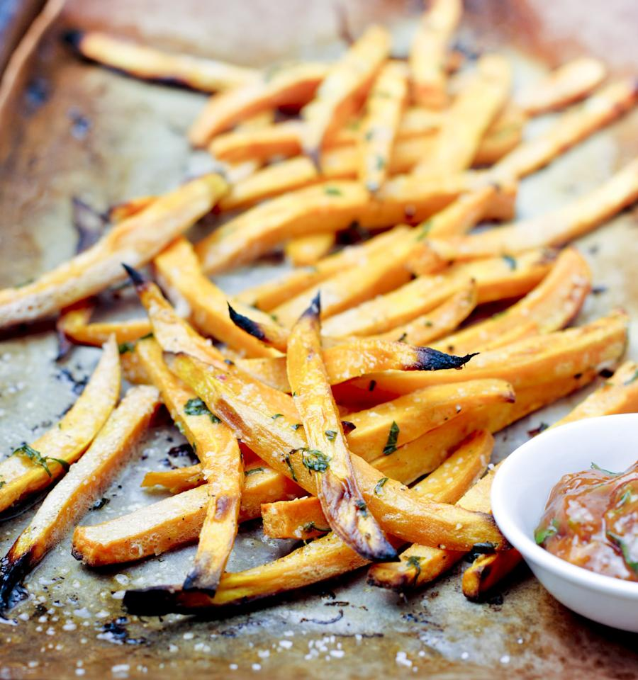 "<p>Homemade sweet potato fries are ""an easy way to add veggies to your diet,"" said Diana Gariglio-Clelland, a registered dietitian at <a href=""https://balanceone.com"" target=""_blank"" class=""ga-track"" data-ga-category=""Related"" data-ga-label=""https://balanceone.com"" data-ga-action=""In-Line Links"">Balance One Supplements</a>, and sweet potatoes are full of vitamins A and C to boot. Making them yourself helps you avoid the deep-fried versions served at restaurants, which Diana said is great for those looking to lose weight. Here's a quick <a href=""https://www.popsugar.com/fitness/Healthy-Sweet-Potato-Fries-34184453"" class=""ga-track"" data-ga-category=""Related"" data-ga-label=""https://www.popsugar.com/fitness/Healthy-Sweet-Potato-Fries-34184453"" data-ga-action=""In-Line Links"">sweet potato fry recipe</a>, no fryer necessary.</p>"