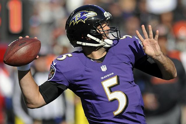 Baltimore Ravens quarterback Joe Flacco passes the ball during the first half of a NFL football game against the Cincinnati Bengals in Baltimore, Sunday, Nov. 10, 2013. (AP Photo/Nick Wass)