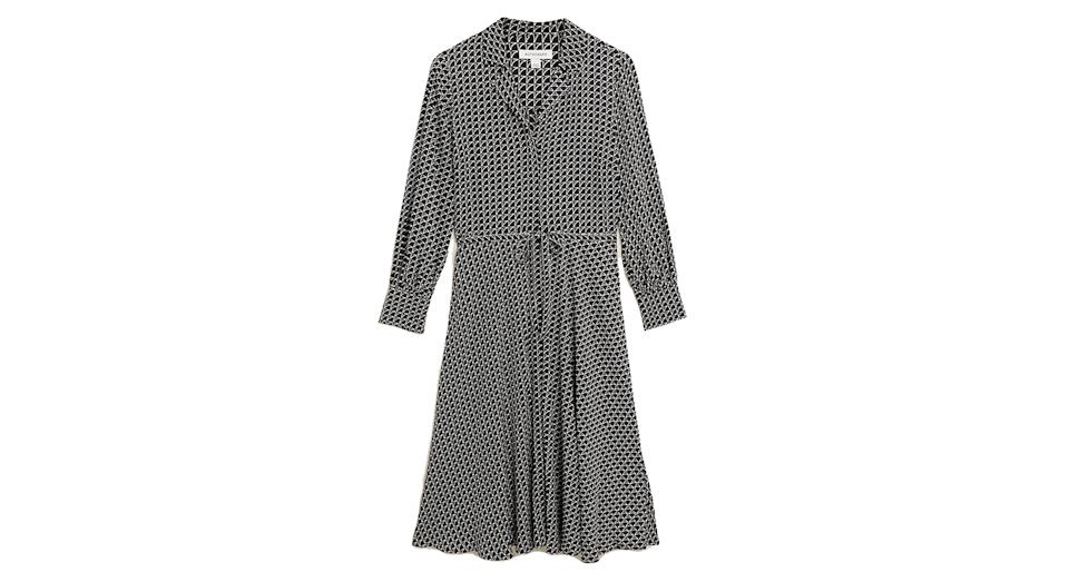 Geometric V-Neck Midaxi Shirt Dress