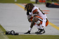 Cleveland Browns tight end David Njoku reacts on the field after an NFL divisional round football game against the Kansas City Chiefs, Sunday, Jan. 17, 2021, in Kansas City. The Chiefs won 22-17. (AP Photo/Jeff Roberson)