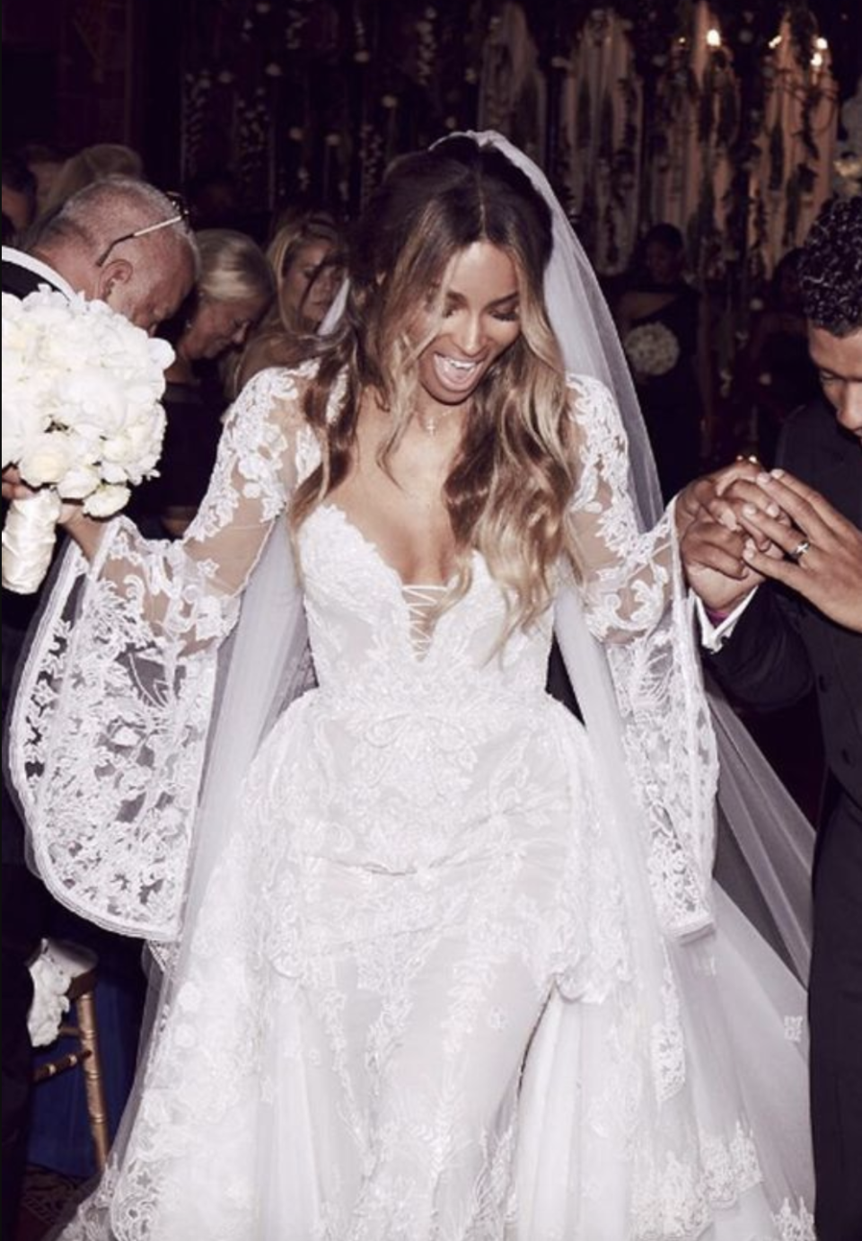 <p>Ciara wowed in a custom Roberto Cavalli Couture gown by creative director Peter Dundas.</p>