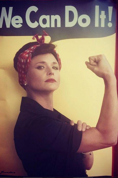 <p>As Rosie the Riveter.</p>